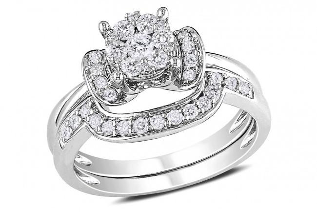 Ice 1/2 CT Diamond 14K White Gold Bridal Engagement Ring Set