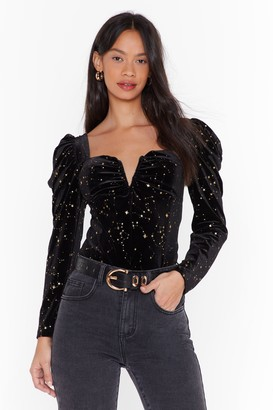 Nasty Gal Womens Velvet Puff Sleeve Top with V-Cut Out - Black
