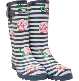 Trespass Womens Elana Striped Floral Print Wellington Boots Navy/White