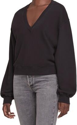 AGOLDE Balloon Sleeve Crop Cotton Sweatshirt
