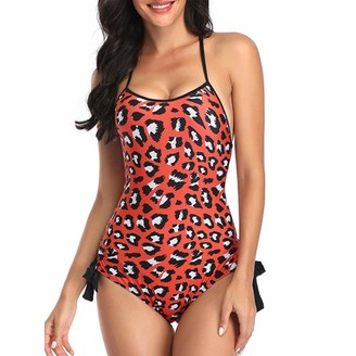 MSemis Womens One-Piece Leopard Print Monokini Swimsuit Spaghetti Strap Backless Bathing Suits Red S