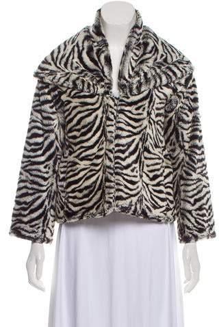 Alice + Olivia Faux Fur Animal Print Jacket