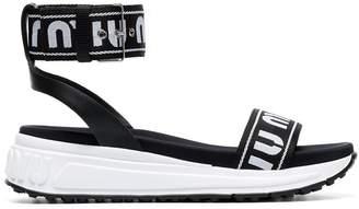 Miu Miu logo print strap sandals