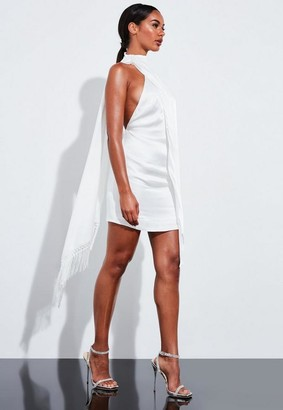 Missguided Ivory Satin Drape Fringe Mini Dress