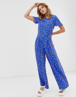 Asos Design DESIGN ditsy floral tea jumpsuit with button side-Multi