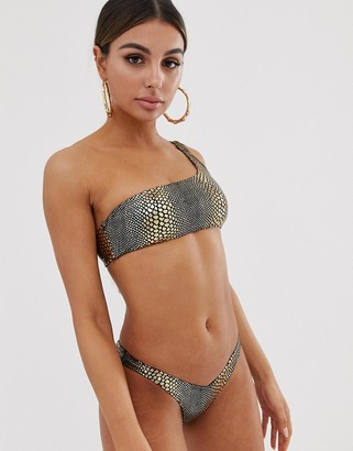 Jaded London one shoulder bikini top in gold metallic snake
