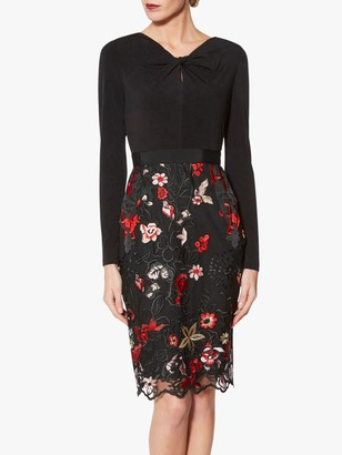 Gina Bacconi Iga Embroidered Dress, Black/Red