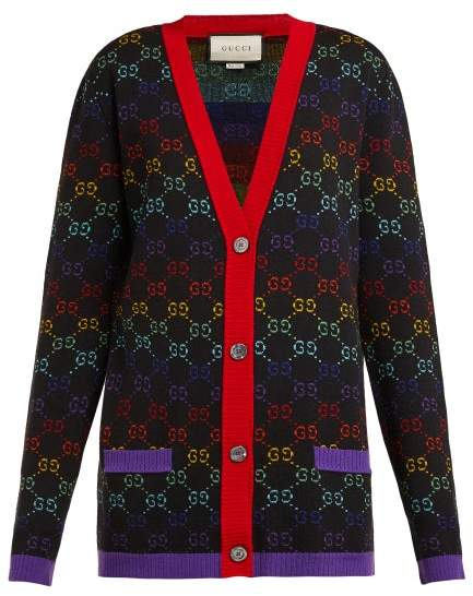 Gucci Gg Jacquard Wool Cardigan - Womens - Black Multi