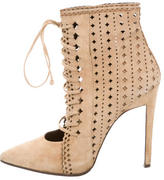 Roberto Cavalli Lace-Up Laser Cut Ankle Boots