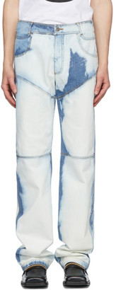 Telfar Blue and White Bleached Panelled Jeans