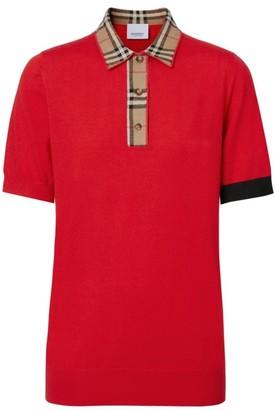Burberry Penk Short Sleeve Check Collar Polo