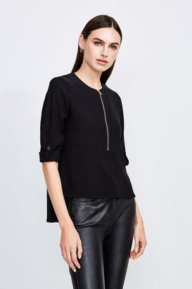 Karen Millen Relaxed Tailored Zip Front Top