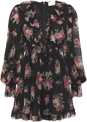 Zimmermann Honour Floating Floral-print Silk-georgette Playsuit