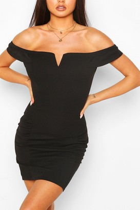 boohoo Bardot Mini Dress With Ruffle Sleeves