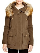 DKNY Faux Fur Trim Hooded Anorak