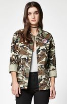 PacSun Embroidered Camo Military Jacket