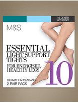 M&S Collection 2 Pair Pack 10 Denier Light Support Matt Tights