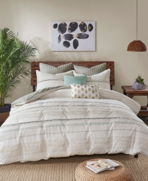 INK+IVY Nea King/California King 3 Piece Cotton Printed Comforter Set with Trims Bedding
