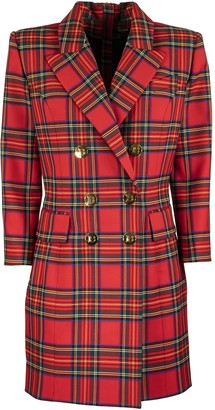 Balmain Short Dress In Red Plaid Wool With Long Sleeves