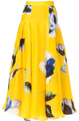 Carolina Herrera A-Line Box-Pleat Silk Maxi Skirt