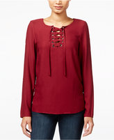Kensie Long-Sleeve Lace-Up Top, A Macy's Exclusive Style