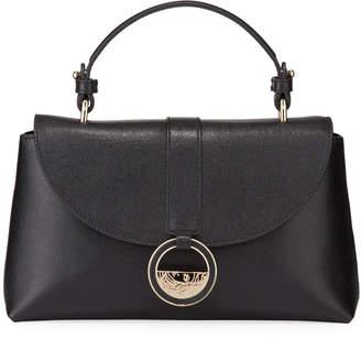 Versace Saffiano Top-Handle Crossbody Bag, Black