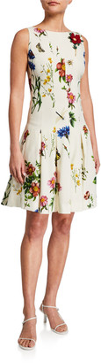 Oscar de la Renta Floral Print Pleated Dress