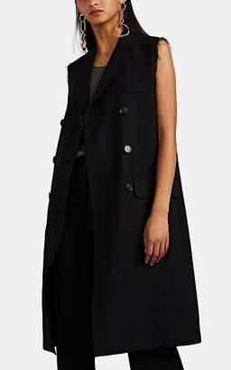 Officine Generale Women's Andre Micro-Basket-Weave Wool Frayed-Edged Long Vest - Black
