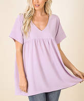Lydiane Women's Tunics DUSTY - Dusty Lavender V-Neck Short-Sleeve Babydoll Tunic - Women & Plus