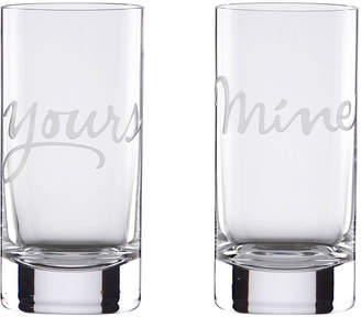 Kate Spade two of a kind yours & mine highball glasses