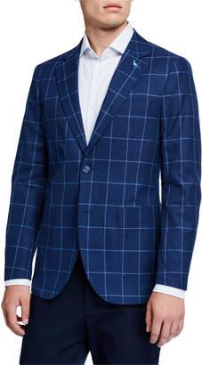Tailorbyrd Windowpane Cotton Sport Coat, Navy
