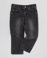 Appaman Straight-Leg Washed Jeans, Black