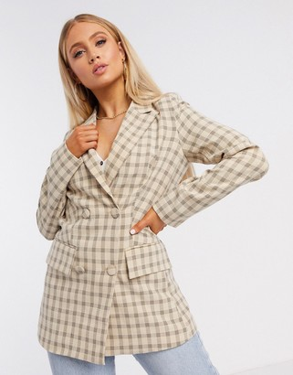 4th + Reckless double breasted suit blazer in check