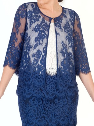 Riviera Chesca chesca Eyelash Trim Lace Jacket, Blue