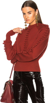 Chloé Bobble Knit Crew Neck Sweater in Red.