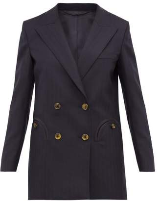 BLAZÉ MILANO What's Next Double-breasted Wool-tweed Blazer - Womens - Navy