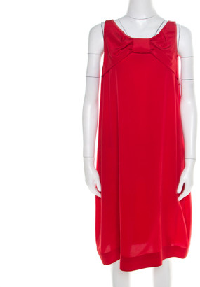 Moschino Red Silk Crepe Bow Detail Sleeveless Dress L