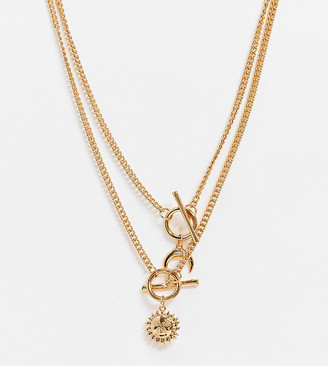 ASOS DESIGN Curve necklace with T-bar and sun and moon in gold tone