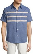 Sol Angeles Puerto Embroidered Short-Sleeve Chambray Shirt, Indigo