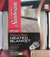 "Sunbeam Imperial Plush Heated Blanket /Ecru; Blue Lagoon; Red Garnet 62""x84"""