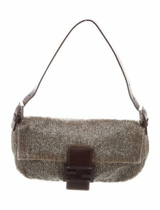 Fendi Beaded Leather-Trimmed Baguette Brown