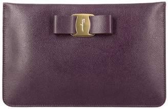 Salvatore Ferragamo Mini Bag Clutch Bag Vara In Score Leather With Shoulder Strap