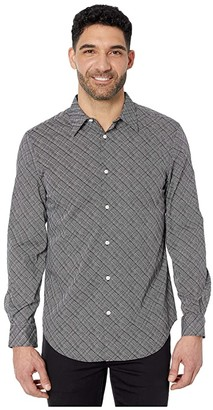 Perry Ellis Etched Grid Print Stretch Long Sleeve Button-Down Shirt (Bright White) Men's Clothing