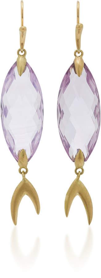 Annette Ferdinandsen Large Simple Fish 18K Gold Amethyst Earrings