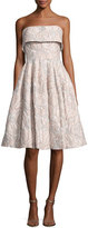 Badgley Mischka Strapless Floral Jacquard Cocktail Dress, Beige/Multicolor
