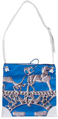 One Kings Lane Vintage Hermes Blue Silk & White Leather Tote - Vintage Lux