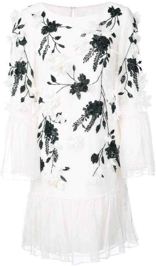 Marchesa flower embellished ruffle dress