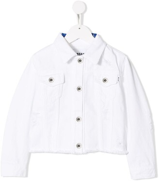 Msgm Kids Distressed Denim Jacket