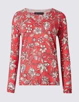 Marks and Spencer Floral Print V-Neck Long Sleeve jumper