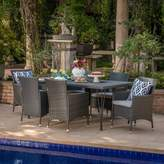 Ophelia & Co. Alassane Outdoor Wicker 7 Piece Dining Set with Cushions & Co.